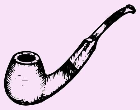 policia caricatura: pipa de tabaco, el estilo de dibujo, ilustraci�n boceto