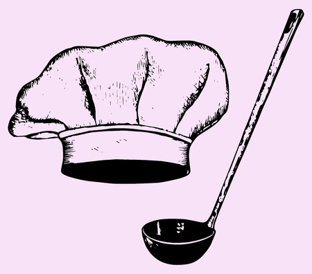 replaceable: chef hat and soup ladle, hand drawn, doodle style