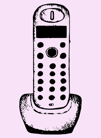 caller: wireless home telephone hand drawn, doodle style