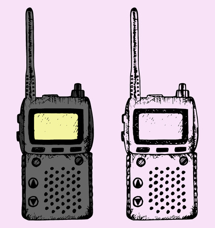cellular repeater: walkie talkie, doodle style, hand drawn