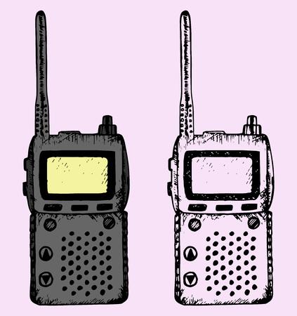 telephone mast: walkie talkie, doodle style, hand drawn