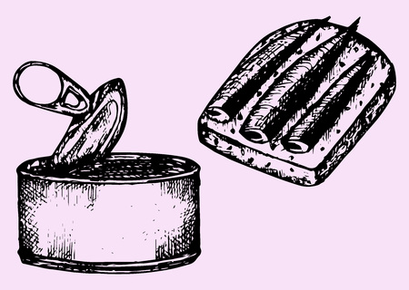 pilchard: tin can, sprat, sandwich, doodle style, sketch illustration