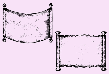 old scroll: old scroll parchment, doodle style, sketch illustration