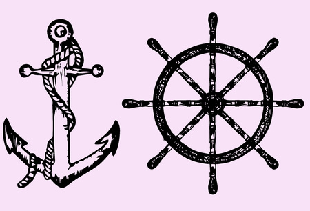 schooner: ships anchor and wheel, doodle style, sketch illustration