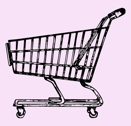 shopping cart: supermarket shopping cart, doodle style, sketch illustration