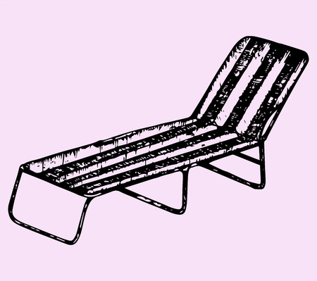 recline: beach chair, doodle style, sketch illustration