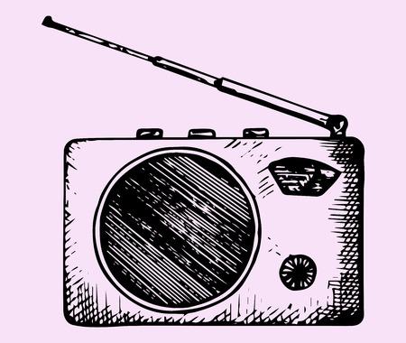 portable radio: portable radio, doodle style, hand drawn