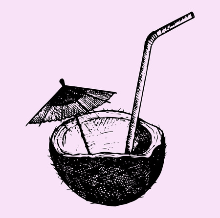 Coconut cocktail, doodle style, hand drawn, vector illustration