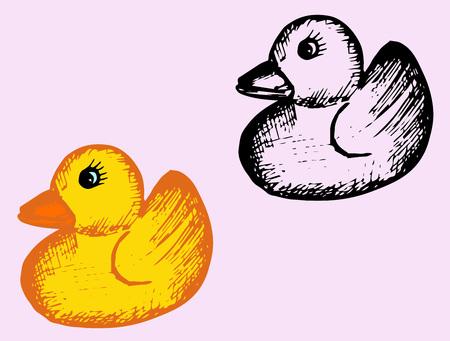 squeak: bath rubber duck, doodle style, sketch illustration