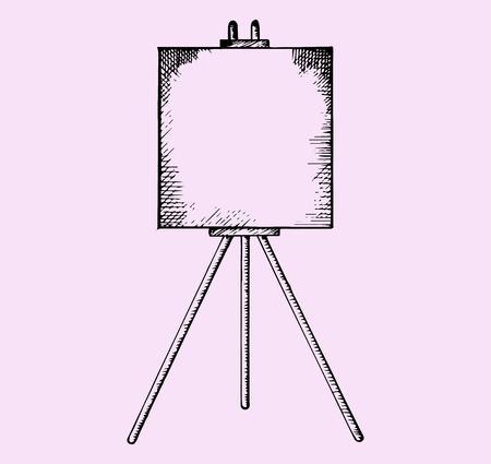 caballete con lienzo en blanco, el estilo de dibujo, ilustración boceto