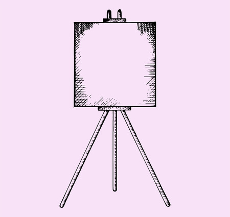 artboard: easel with blank canvas, doodle style, sketch illustration