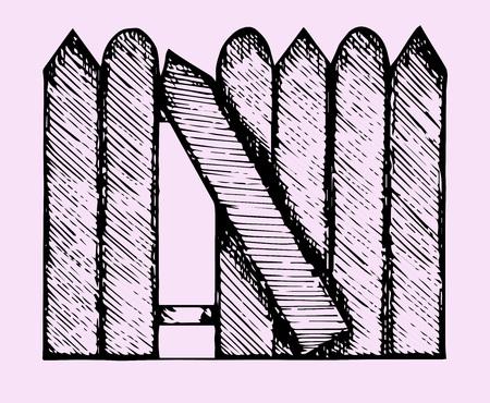 broken fence, doodle style, sketch illustration