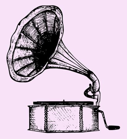 gramophone, doodle style, sketch illustration Illustration