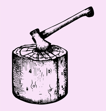 filings: axe and log, doodle style, sketch illustration Illustration