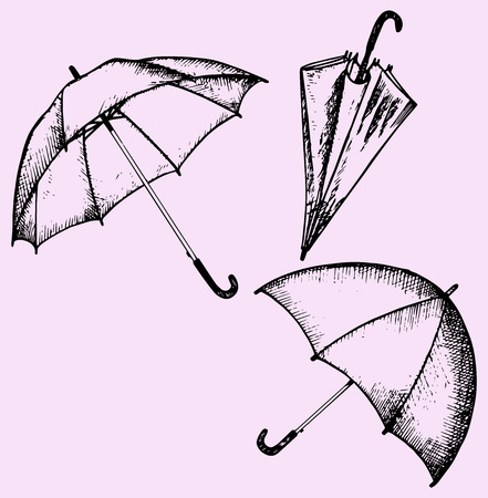 large group of objects: set of umbrella, doodle style, sketch illustration