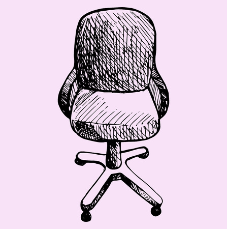 computer chair: computer chair, doodle style. sketch illustration Illustration