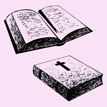 hand outline: bible book, doodle style, sketch illustration