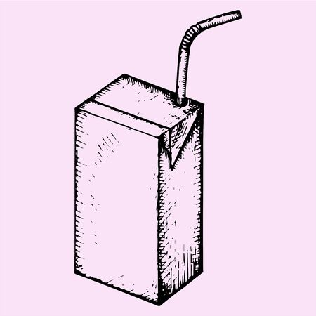juice: blank drink box, packaging, juice, milk, yogurt, milk with drinking straws, doodle style, sketch illustration