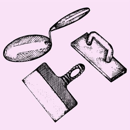 straighten: trowel, finishing trowel, spatula, doodle style, sketch illustration Illustration