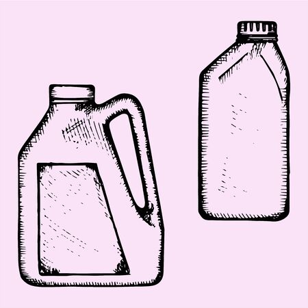 motor oil: motor oil, plastic bottle, doodle style, sketch illustration