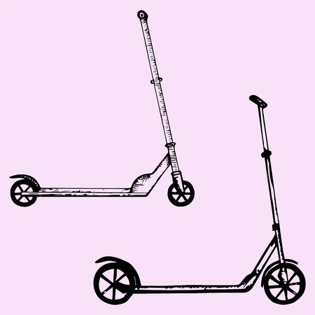 objects with clipping paths: push scooter, doodle style, sketch illustration Illustration