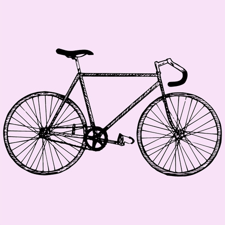 bicycle wheel: sport bicycle, race road bike, doodle style, sketch illustration Illustration