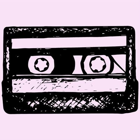 audio cassette: audio cassette, music cassette, doodle style, sketch illustration