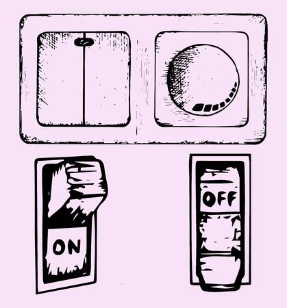 light switch: light switch, set, doodle style, sketch illustration
