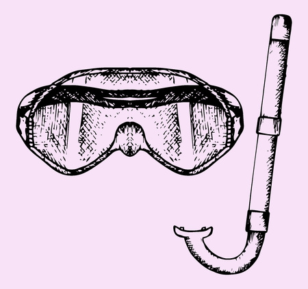 snorkelers: diving mask and a snorkel, doodle style, sketch illustration Illustration