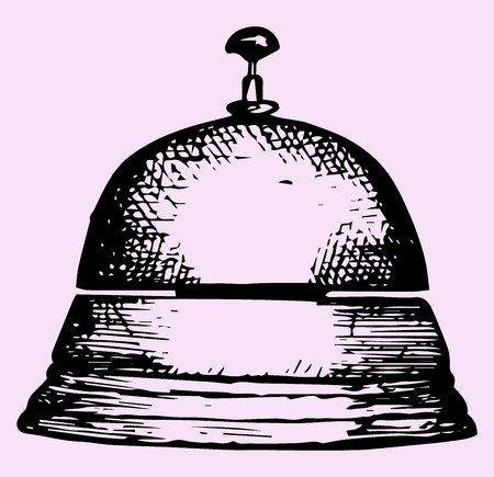 hand bell: service bell, doodle style, sketch illustration
