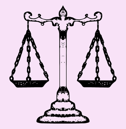 lawless: scales of justice, doodle style, sketch illustration