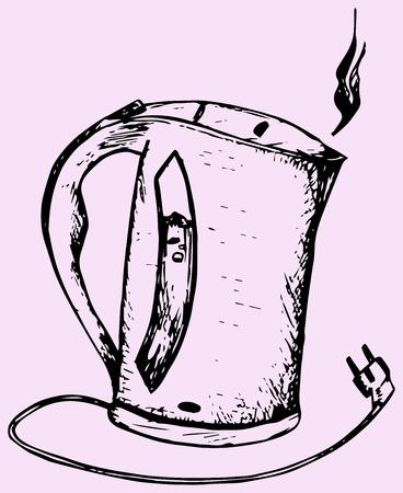 electric kettle: electric kettle, doodle style, sketch illustration