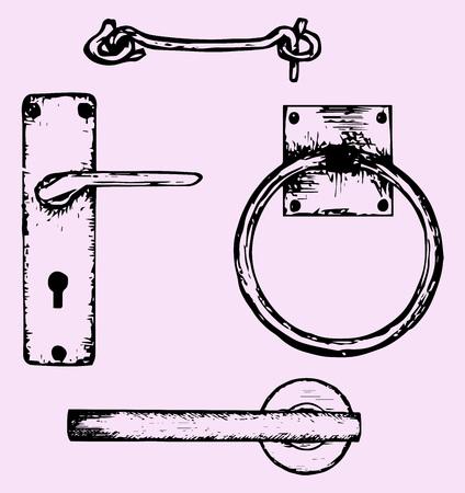 deurgrepen, krabbel stijl, schetsillustratie