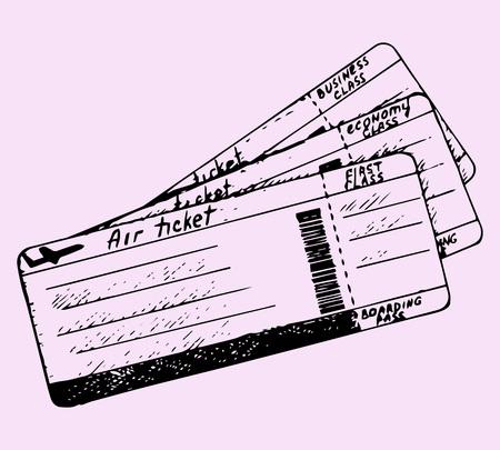 vliegticket, krabbel stijl, schets illustratie