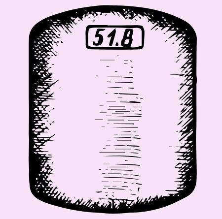 bathroom weight scale: bathroom weight scale, doodle style, sketch illustration