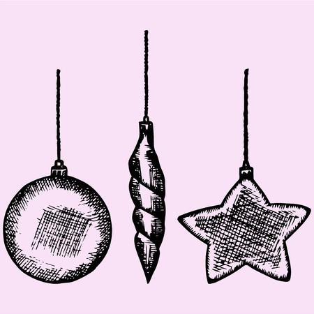 xmas linework: christmas bauble, decoration elements, doodle style, sketch illustration