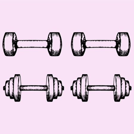 hand with dumbbell: set of the dumbbells, doodle style, sketch illustration