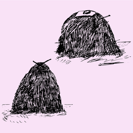 hay bale: bale, sheaf of hay, doodle style, sketch illustration