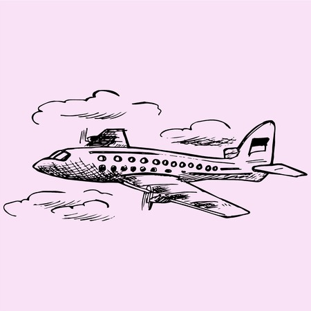 airplane in the sky, passenger airliner, doodle style, sketch illustration