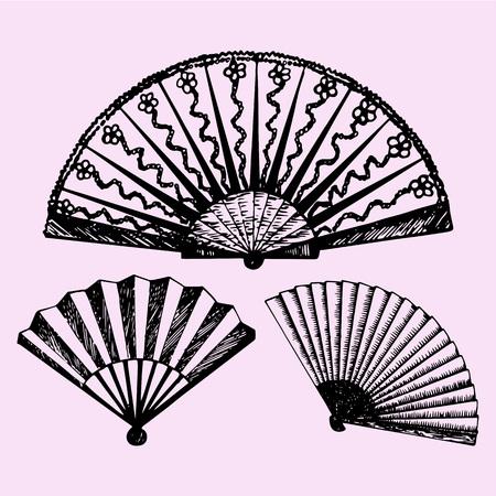 set of folding fan, doodle style, sketch illustration