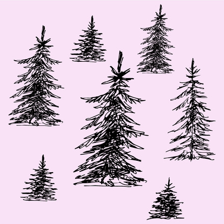 set of Christmas trees, pine trees, doodle style, sketch illustration