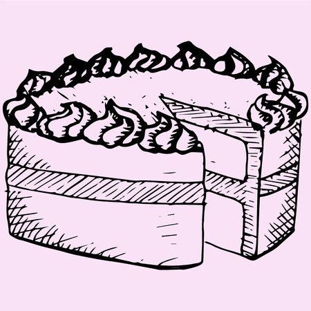 sliced: pound cake, doodle style, sketch illustration