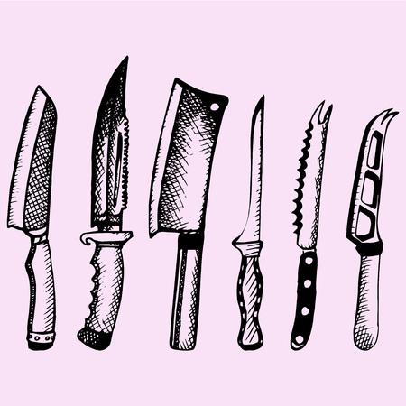 set of the various kitchen knives, doodle style, sketch illustration Illustration