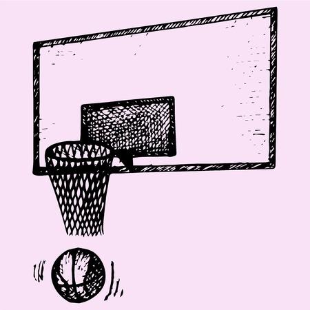 backboard: basketball backboard, basket and ball in movement, doodle style, sketch illustration