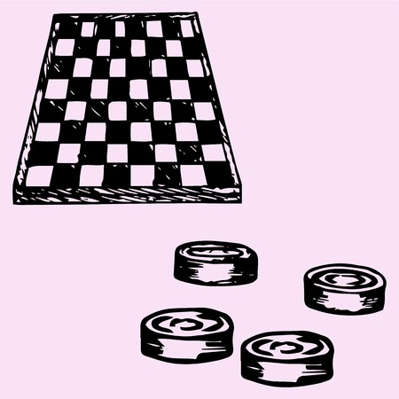 checker: checkers and Checkers board, doodle style, sketch illustration Illustration