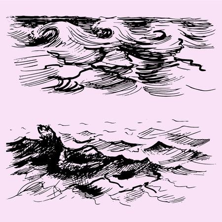 set of the sea or ocean wave, doodle style, sketch illustration