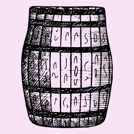 barrel bomb: Old wooden barrel, hand drawn, doodle style, sketch illustration Illustration