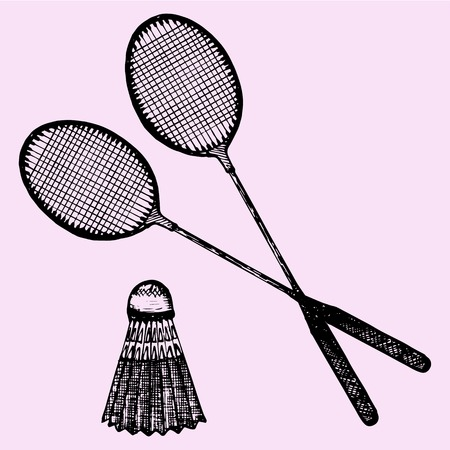 small group of object: Badminton racket and shuttlecock, doodle style, sketch illustration Illustration