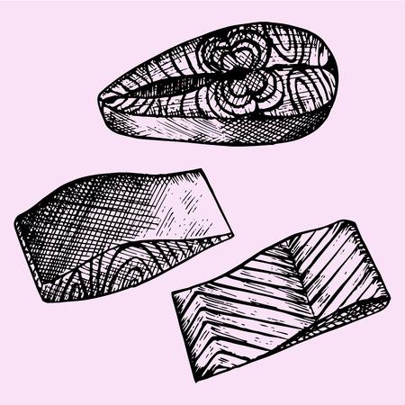 salmon steak: set of the salmon steak red fish, doodle style, sketch illustration, hand drawn, vector Illustration