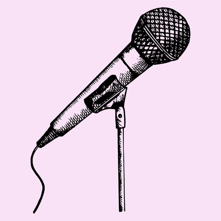 karaoke singer: microphone on a stand, doodle style, sketch illustration, hand drawn, vector Illustration